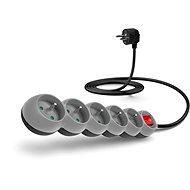 CONNECT IT hosszabbító kábel 230 V, 5 dugalj + kapcsoló, 2m, szürke - Hosszabbító