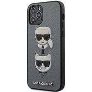 Karl Lagerfeld Saffiano K&C Heads - Apple iPhone 12/12 Pro, Silver - Mobiltelefon hátlap