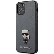 Karl Lagerfeld Saffiano Iconic Apple iPhone 12/12 Pro Silver - Mobiltelefon hátlap