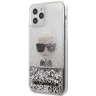Karl Lagerfeld Liquid Glitter Iconic - Apple iPhone 12/12 Pro, Silver - Mobiltelefon hátlap