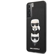 Mobiltelefon hátlap Karl Lagerfeld Saffiano K&C Heads borítás Samsung Galaxy S21  készülékhez fekete - Kryt na mobil