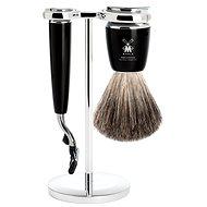 MÜHLE Rytmo Black Pure Badger Mach3, 3 részes borotválkozó készlet - Kozmetikai ajándékcsomag