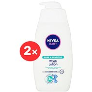 NIVEA Baby Pure & Sensitive Wash Lotion 2× 500 ml - Gyerek tusfürdő