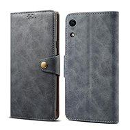 Lenuo Leather tok Honor 8A készülékhez, szürke - Mobiltelefon tok