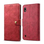 Lenuo Leather tok Samsung Galaxy A10 készülékhez, piros