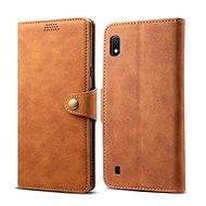 Lenuo Leather tok Samsung Galaxy A10 készülékhez, barna - Mobiltelefon tok