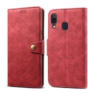 Lenuo Leather tok Samsung Galaxy A40 készülékhez, piros - Mobiltelefon tok