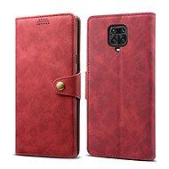 Mobiltelefon tok Lenuo Leather tok Xiaomi Redmi Note 9 Pro/Note 9S készülékhez, piros - Pouzdro na mobil