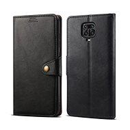 Mobiltelefon tok Lenuo Leather tok Xiaomi Redmi Note 9 Pro/Note 9S készülékhez, fekete - Pouzdro na mobil