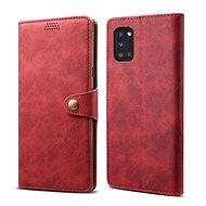 Lenuo Leather tok Samsung Galaxy A31 készülékhez, piros - Mobiltelefon tok