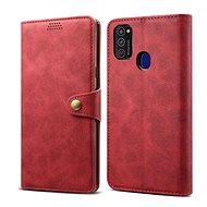 Lenuo Leather Samsung Galaxy M21-hez, piros - Mobiltelefon tok