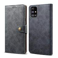 Mobiltelefon tok Lenuo Leather Samsung Galaxy M31s készülékre, szürke - Pouzdro na mobil