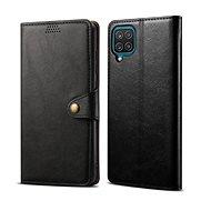 Lenuo Leather Samsung Galaxy A12 készülékhez, fekete