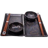 Made In Japan 6 db-os sushi szett, virágos mintával, fekete - Szett
