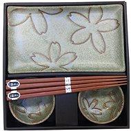 Made In Japan 6 db-os sushi szett, virágos mintával, világoszöld - Szett