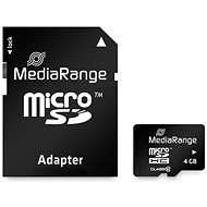 MEDIARANGE microSDHC 4GB Class 10 + SD adapter - Memóriakártya