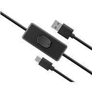 AKASA USB C tápkábel kapcsolóval / AK-CBUB57-15BK - Adatkábel