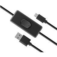AKASA USB Micro-B tápkábel kapcsolóval / AK-CBUB58-15BK - Adatkábel