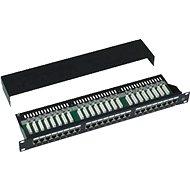 Adatátviteli panel, 24x RJ45, közvetlen, CAT5E STP, fekete, 1U - Patch panel