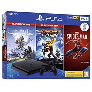 PlayStation 4 Slim 500GB + 3 játék (Spiderman, Horizon Zero Dawn, Ratchet and Clank) - Konzol