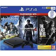 PlayStation 4 Slim 1TB + 3 játék (The Last of Us, Uncharted 4, Horizon Zero Dawn) - Játékkonzol