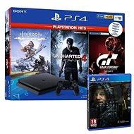 PlayStation 4 Slim 1TB + 4 játék (GT Sport, Uncharted 4, Horizon Zero Dawn) + Death Stranding - Játékkonzol
