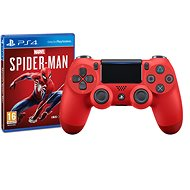 Sony PS4 Dualshock 4 V2 - Magma Red + Marvels Spider-Man - Játékvezérlő