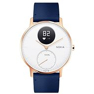 Nokia Steel HR (36mm) Rose Gold/Blue Leather/Grey Silicone wristband - Okosóra