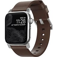 Nomad Leather Strap Brown, silver - Apple Watch 44/42 mm