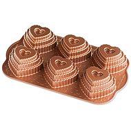 Nordic Ware 6 darabos réteges szív sütőforma, réz - Sütőforma
