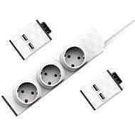 Allocacoc Set PowerStrip moduláris kapcsoló, 1,5m + 2x USB modul - Aljzat