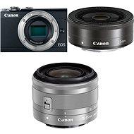 Canon EOS M100 fekete + M15-45mm ezüst + M 22mm - Digitális fényképezőgép