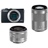 Canon EOS M100 szürke + M15-45mm ezüst + M55-200mm ezüst - Digitális fényképezőgép