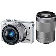 Canon EOS M100 M15-45mm fehér + ezüst + ezüst M55-200mm - Digitális fényképezőgép