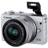 Canon EOS M100 fehér + M15-45mm ezüst + Irista - Digitális fényképezőgép