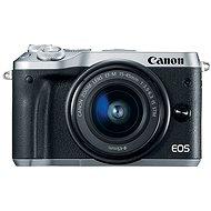 Canon EOS M6, ezüst + EF-M 15-45 mm + 55-200 mm - Digitális fényképezőgép