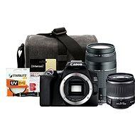 Canon EOS 250D, fekete + 18-55mm DC III + 75-300mm DC III + Canon Starter Kit 58mm - 32GB - Digitális fényképezőgép