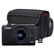 Canon EOS M200 BK M 15-45 mm S + SB 130 fotótáska + 16 GB memóriakártya - Digitális fényképezőgép