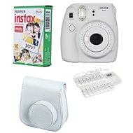 Fujifilm Instax Mini 9 hamufehér színű LED bundle - Instant fényképezőgép