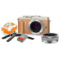 Olympus PEN E-PL9 barna + M.Zuiko Pancake 14-42mm + Utazókészlet - Digitális fényképezőgép