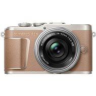 Olympus PEN E-PL10 barna színű + Pancake Zoom készlet 14-42 mm ezüst színű - Digitális fényképezőgép