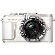 Olympus PEN E-PL10 fehér színű + Pancake Zoom készlet 14-42 mm ezüst színű - Digitális fényképezőgép