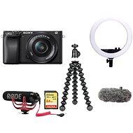 Sony Alpha A6400 + 16-50 mm-es fekete Vlogger Kit Premium - Digitális fényképezőgép