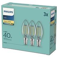 Philips LED classic 4,3-40W, E14 2700K, 3 db - LED izzó