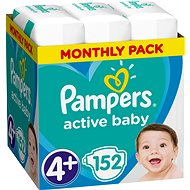 Pampers Active Baby-Dry 4+ méret (Maxi Plus) - 152 db, havi csomag
