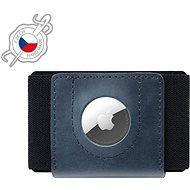 FIXED Tiny Wallet for AirTag valódi marhabőrből - kék - Pénztárca