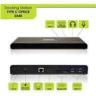 PORT CONNECT dokkolóállomás 11in1 3x 4K USB-C + USB 3.0 - Dokkoló állomás