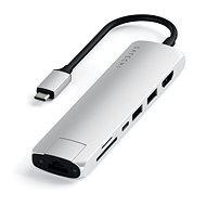Satechi C típusú alumínium vékony multiport (1xHDMI 4K, 2x USB-A, 1x SD, 1x Ethernet) - ezüst