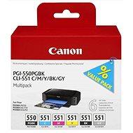 Canon PGI-550/CLI-551 PGBK / C / M / Y / BK / GY Multi Pack - Tintapatron