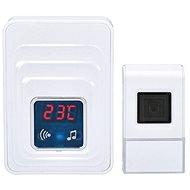 Solight vezeték nélküli ajtócsengő hőmérővel, aljzatba, 120m, fehér (1L57) - Csengő